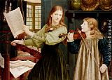 Henry Holiday The Duet, Portrait Of Alexandra, Daughter Of Rev. G. Kitchin And Winifrid, Daughter Of The Painter painting