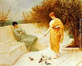 Henry Thomas Schafer Feeding Doves painting