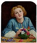 Henry Wallis A Young Girl Arranging A Bouquet painting