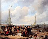 Herman Frederik Carel ten Kate De afschlag van visch aan het strand te Scheveningen a fish auction on the beach painting