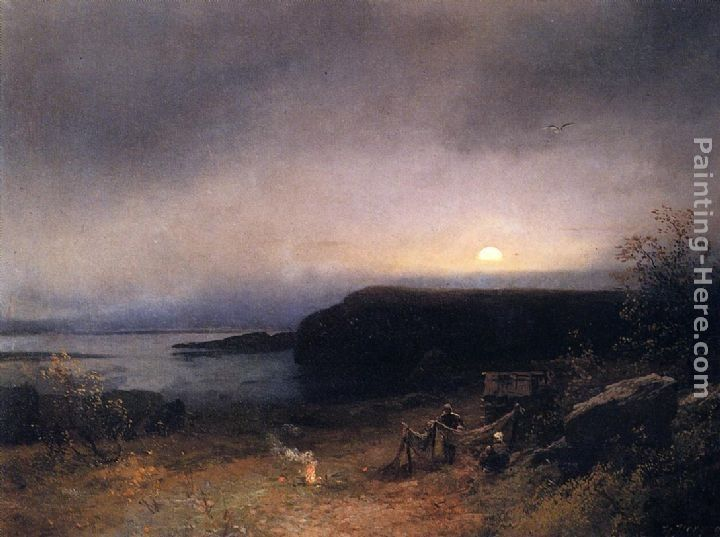 Herman Herzog Campfire in Moonlight