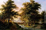 Hermanus Everhardus Rademaker A Mountainous Woodland With The Kurhaus, Cleves, In The Distance painting