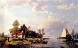 Hermanus Koekkoek Snr A River Landscape With A Ferry And Figures Mending A Boat painting