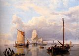 Hermanus Koekkoek Snr Shipping On The Scheldt With Antwerp In The Background painting