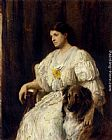 Heywood Hardy Portrait of a lady with her collie, seated, three-quarter length painting