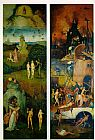 Hieronymus Bosch Paradise and Hell, left and right panels of a triptych painting