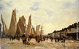 Hippolyte Camille Delpy The Docks at Dieppe painting