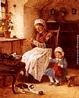 Hugo Oehmichen The Sewing Lesson painting