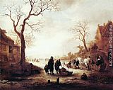 Isack van Ostade A Canal in Winter painting