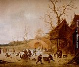 Isack van Ostade A Winter Landscape With Skaters, Children Playing Kolf And Figures With Sledges On The Ice Near A Bridge painting
