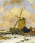 Jacob Henricus Maris A Windmill in a Winter Landscape painting