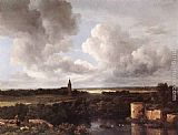 Jacob van Ruisdael An Extensive Landscape with a Ruined Castle and a Village Church painting
