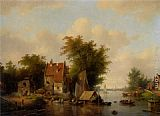 Jacobus Van Der Stok A river landscape with many figures by a village painting