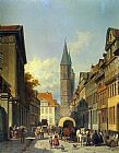 Jacques Carabain A Busy Street in a German Town painting