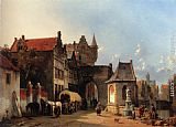 Jacques Carabain Figures By An Old City Gate painting