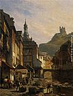 Jacques Carabain Town Along a River painting