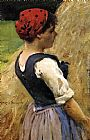 James Carroll Beckwith Normandy Girl painting