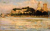 James Carroll Beckwith The Palace of the Popes and Pont d'Avignon painting