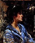 James Jebusa Shannon Young Woman In Blue -- Miss H. Strom painting
