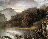 James Smetham Classical figures by a river with a Temple Beyond painting