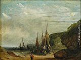 James Wilson Carmichael Boats on Shore painting