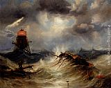 James Wilson Carmichael The Irwin Lighthouse, Storm Raging painting