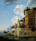 Jan Asselyn A Waterside Ruin in Italy painting