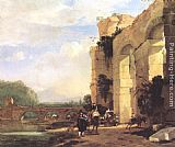 Jan Asselyn Italian Landscape with the Ruins of a Roman Bridge and Aqueduct painting