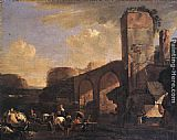 Jan Asselyn Italianate Landscape with a River and an Arched Bridge painting
