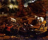 Jan Siberechts Figures With A Cart And Horses Fording A Stream painting