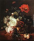 Jan Van Huysum Basket of Flowers painting