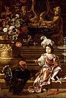 Jan Weenix A Boy Seated On A Terrace With His Pet Monkey And a Turkey, A Still Life Of Flowers In A Sculpted Urn At Left painting