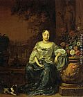 Jan Weenix Portrait of a Lady Seated in a Garden with her Dog painting