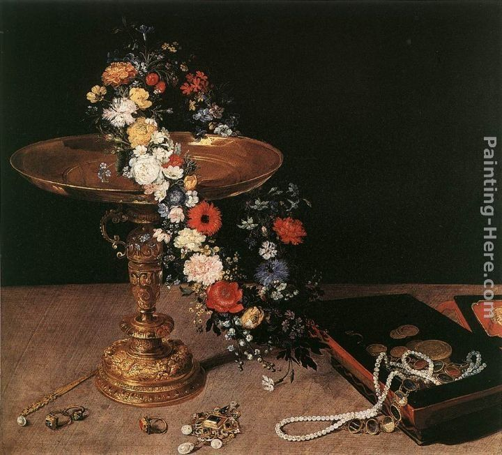 Jan the elder Brueghel Still-Life with Garland of Flowers and Golden Tazza