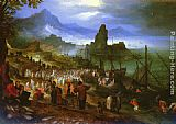 Jan the elder Brueghel Christ Preaching At The Seaport painting