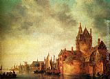 Jan van Goyen A Castle By A River With Shipping At A Quay painting