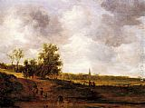 Jan van Goyen A rural landscape with peasants and a drover by a track, a village beyond painting