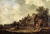 Jan van Goyen Peasant Huts with a Sweep Well painting