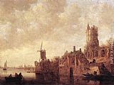 Jan van Goyen River Landscape with a Windmill and a Ruined Castle painting