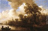 Jan van Goyen River Scene painting
