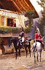 Jean Baptiste Edouard Detaille Officers from a Cuirassier Regiment in front of a Country House painting
