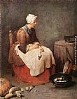 Jean Baptiste Simeon Chardin Girl Peeling Vegetables painting