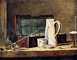 Jean Baptiste Simeon Chardin Pipes And Drinking Pitcher painting