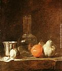 Jean Baptiste Simeon Chardin Still Life with Carafe, Silver Goblet and Fruit painting