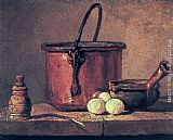 Jean Baptiste Simeon Chardin Still Life with Copper Cauldron and Eggs painting