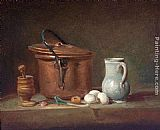 Jean Baptiste Simeon Chardin Still Life with Copper Pan and Pestle and Mortar painting