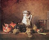 Jean Baptiste Simeon Chardin Still Life with Grapes and Pomegranates painting