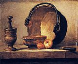 Jean Baptiste Simeon Chardin Still Life with Pestle, Bowl, Copper Cauldron, Onions and a Knife painting
