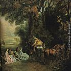 Jean-Antoine Watteau A halt during the chase painting