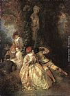 Jean-Antoine Watteau Harlequin and Columbine painting